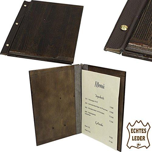 Edel Holz Speisekarte Leder A4 Weinkarte Getr/änkekarte Men/ükarte Kartenmen/ü Restaurant Brauhaus Speise