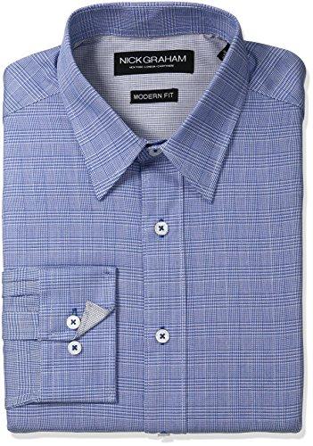 aid Cotton Dress Shirt, Blue Glen, Large/L 16/16.5