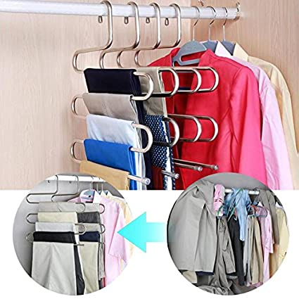 Pants Rack Shelves 5 In 1 Stainless Steel Multi-functional Wardrobe Magic Hanger High Quality Goods Home & Garden