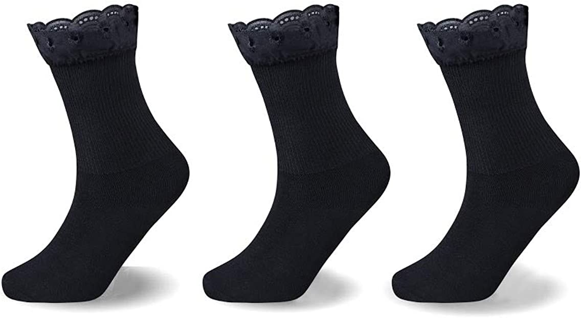 3 9 or 12 Pair Girls Kids BLACK LACE Frilly Top Ankle Daily Use School Socks All Sizes 6