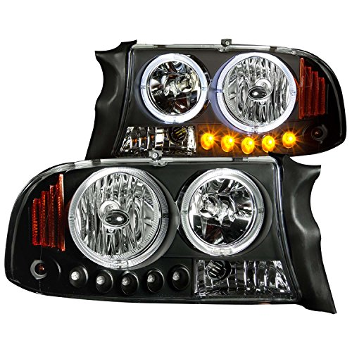 Anzo USA 111085 Dodge Dakota/Durango Crystal Clear Black With Amber Reflectors Headlight Assembly - (Sold in Pairs)