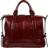 Yaluxe Women's Vintage Style Hot Sell Leather Top Handle Cross Body Shoulder Bag Red