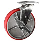 8 Inch Swivel Caster with Brake - Polyurethane Tread on Metal Core Wheel Service Caster Brand