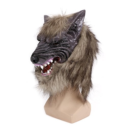 Mimgo Store Latex Animal Wolf Head With Hair Mask Fancy Dress Costume Party Halloween Cosplay (Latex Wolf Mask)