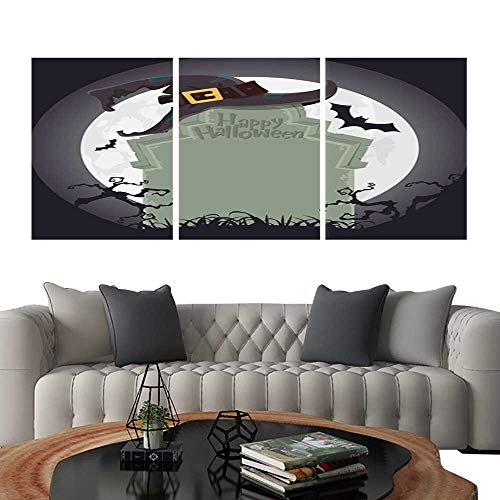 UHOO Triptych Paintings Combination DecorativeCreepy Tombstone and Black Witch hat Halloween Party Decoration Vector. Bedroom,Hotel so on 12