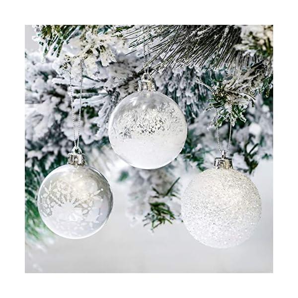 Victor's Workshop Addobbi Natalizi 24 Pezzi 6cm Palle di Natale, Frozen Winter Silver e White Shatterproof Christmas Ball Ornaments Decoration for Christmas Tree Decor 5 spesavip
