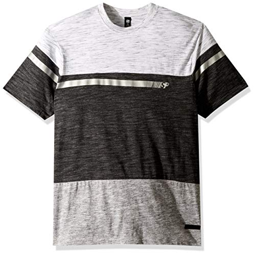 Southpole Men's Short Sleeve Tech Tee, Marled Charcoal Foil, X-Large ()