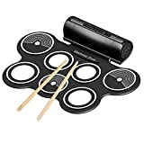 Coondmart Roll Up Drum, Portable Electronic Drum Silicon Foldable Drum Pad Kit for Kids Starters Support Drum Game with Drum Stick and Foot Pedals, Built in Speaker and Headphone Jack