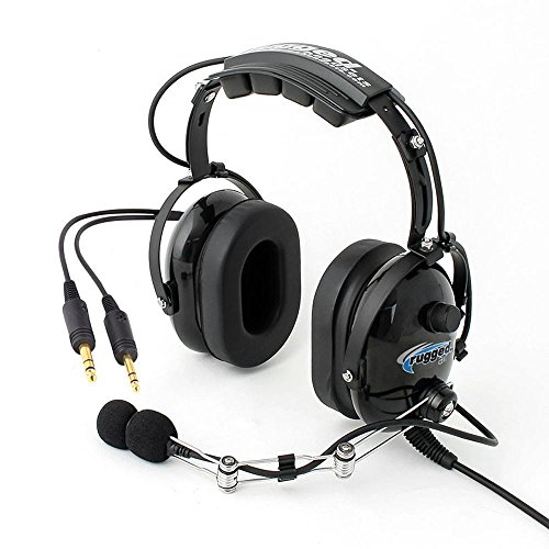 Rugged Air RA454 Black General Aviation Stereo Pilot Headset