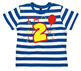 2-3 Years Blue and White Striped Children's T-Shirt I'm 2 With Red and Yellow Print
