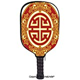 AmaUncle 3D Pickleball Paddle Racket Cover Case,Career Luck Symbol Oriental Pattern Wishing Wealth Prosperity Decorative Customized Racket Cover with Multi-Colored,Sports Accessories