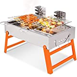 Cheap RioRand BBQ Grill Portable Charcoal Barbecue Folding Lightweight Barbeque Grills Tools for Outdoor Indoor Garden Backyard Cooking Camping Hiking Beach Picnics Tailgating Backpacking