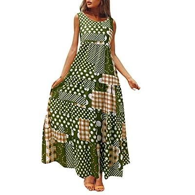 Summer Women Print Long Dress Sleeveless Vest Female Loose Large Size Dresses