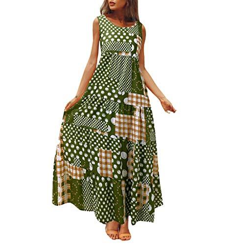 Women Vintage Maxi Sleeveless O Neck Plus Size Bohemian Print Plaid Long Dress Green