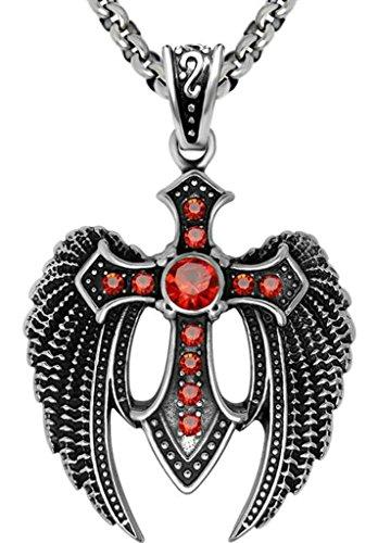 Titanium Steel Necklaces, Men's Pendant Necklaces Eagle Wings Shape Red Epinki