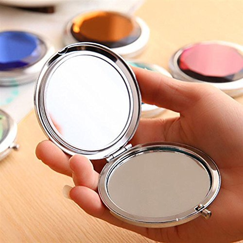 Compact Mirror, UTPTOOL Double Sides Portable Foldable Pocket Metal Makeup Compact Mirror Woman Cosmetic Mirror (Rose Red)