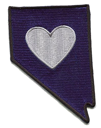 Heart in Nevada Patch - Embroidered Thread Patch for NV Locals, Instant Application with a Sticky-Back, No Ironing Required. Apply to Clothing, Coolers, Water Bottles, Glass, Wood Las Vegas Reno