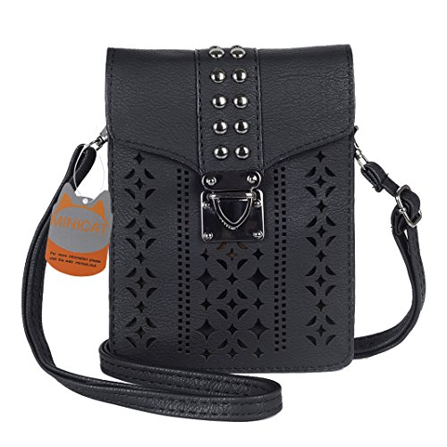 MINICAT Women Hollow Texture Series Crossbody Bag Cell Phone Purse Wallet(Black) (Iphone Purse Crossbody)