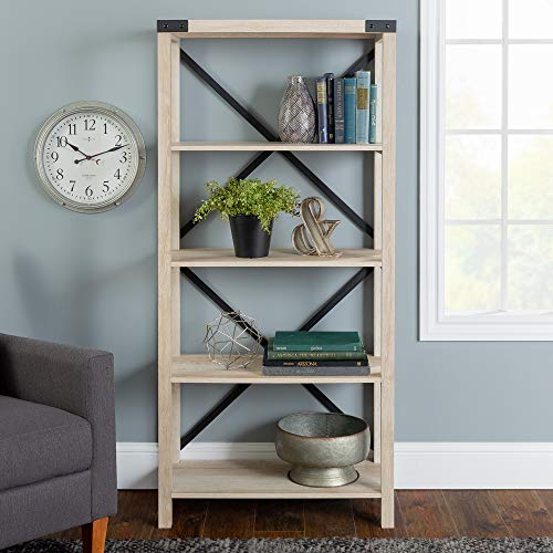 Walker Edison Furniture Company Modern Farmhouse Wood Bookcase Bookshelf Home Office Living Room Storage, 4 Shelf, White Oak