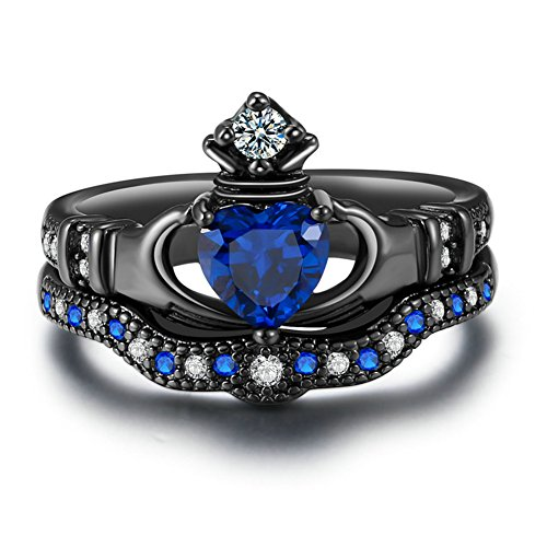 Zealmer Black Gold Plated Cubic Zirconia CZ Blue Sapphire Heart Cut Bridal Crown Irish Claddagh Ring 6 (Irish Heart Ring compare prices)
