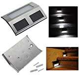 Solar Power Steel LED Light Pathway Step Stairs Wall Garden Yard...