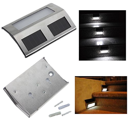 Solar Power Steel LED Light Pathway Step Stairs Wall Garden Yard Lamp
