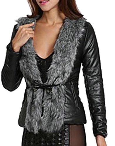 today-UK Women Leather Jacket with Faux Fur Collar Coat Drawstring Waist Design Black