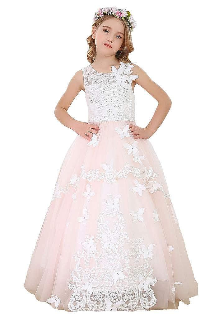 bleush Rose 10_ans Bow Dream Robe de Fille d'Honneur Cérémonie de Mariage Maxi Tulle Vintage Papillon