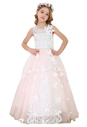 247f0c5b60e Bow Dream Flower Girl Dress Vintage Sleeveless Princess Beaded Lace  Butterfly Pageant Dresses Kids Prom Ball