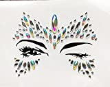 ultra gem - Halloween Face Stickers Face Gems Rhinestone Temporary Tattoo Face Stickers Party Body Glitter Gems for Ultra Music Festival (red)