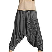 Shujin - Pantalones harem para hombre, para yoga, danza, playa, pantalones para tiempo libre, pantalones de Aladín…