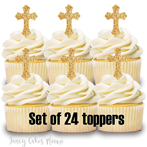 24 Cupcake Toppers GOLD CROSS BAPTISM COMMUNION CONFIRMATION WEDDING -