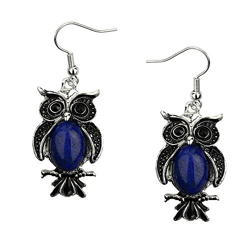 Lazuli Bird Lapis (Liavy's Owl Fashionable Earrings - Fish Hook - Lapis Lazuli Stone)