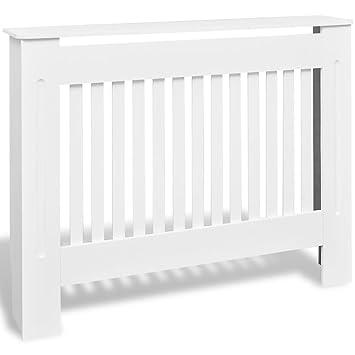 vidaXL Cubre radiador Blanco con función de Soporte de Material MDF Dimensiones 112 cm