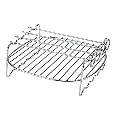 BBQ Rack, Double Layer BBQ Rack Skewers Stainless Steel Baking Tray For Philips Air Fryer Barbecue Accessories