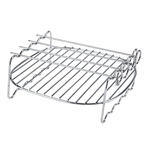 - Rack For Grill Smoker Air Fryer Cooking Accessories Stainless Steel Double Fryer Layer with Skewers Baking Shelf Grill BBQ Rack