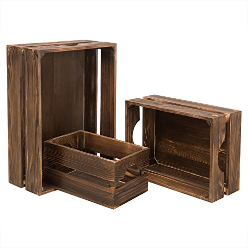 MyGift Nesting Rustic Brown Wood Storage & Accent Crates, for sale  Delivered anywhere in USA