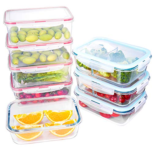 Plastic and Glass Food Containers with lids 8 Pack,Airtight Leak Proof Easy Snap Lock, BPA Free,FDA Approved,Set for Lunch Containers Kitchen Use,Microwave, Oven, Freezer and Dishwasher Safe ()