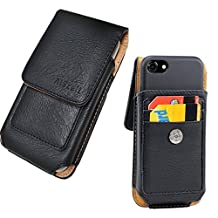 iPhone 7, 6S/6 (4.7'') Premium Vertical Leather Wallet Pouch w/ Credit Card Swivel Clip Holster [Fits iPhone+Otterbox Defender/Resurgence Power Case/LifeProof/Mophie Juice Pack Battery cover](ID Ver)
