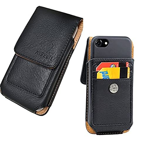 iPhone 7 / 6S (4.7'') Premium Vertical Leather Pouch Credit Card Wallet Case Swivel Belt Clip Carrying Holster(fits iPhone+OtterBox Defender/LifeProof/Mophie Juice Pack/Resurgence power cover - Iphone Vertical Case