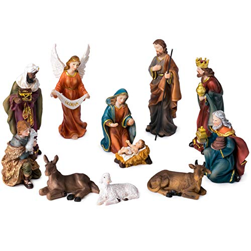 JoyStar Crafts Nativity Set Christmas Crib for Christmas 5 Inch]()