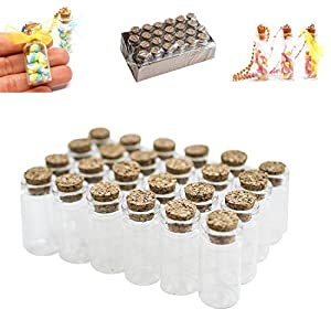 """Mini Clear Glass Jars Bottles with Cork Stoppers for Arts & Crafts, Projects, Decoration, Party Favors - Size: 1-1/2"""" Tall X 3/4 Inches Diameter (24 Pack)"""