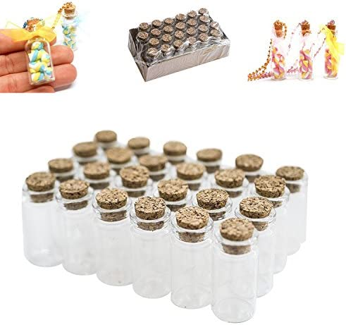 Mini Clear Glass Jars Bottles with Cork Stoppers for Arts & Crafts, Projects, Decoration, Party Favors – Size: 1-1/2″ Tall X 3/4 Inches Diameter (24)
