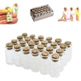 "Mini Clear Glass Jars Bottles with Cork Stoppers for Arts & Crafts, Projects, Decoration, Party Favors - Size: 1-1/2"" Tall X 3/4 Inches Diameter (24 Pack)"