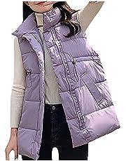 Briskorry Donsvest voor dames, lange winterjas, mouwloos, licht, gewatteerd vest, ritssluiting, donsjas, eenkleurig, vest, winter, outdoor, klimmen, warm, slim reizen, giilet