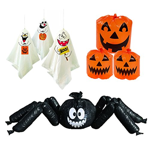 Halloween Outdoor Decorations - Set of 3 - 6' Jumbo Spider, Ghosts and Pumpkin Lawn Leaf Bags Party Decor -