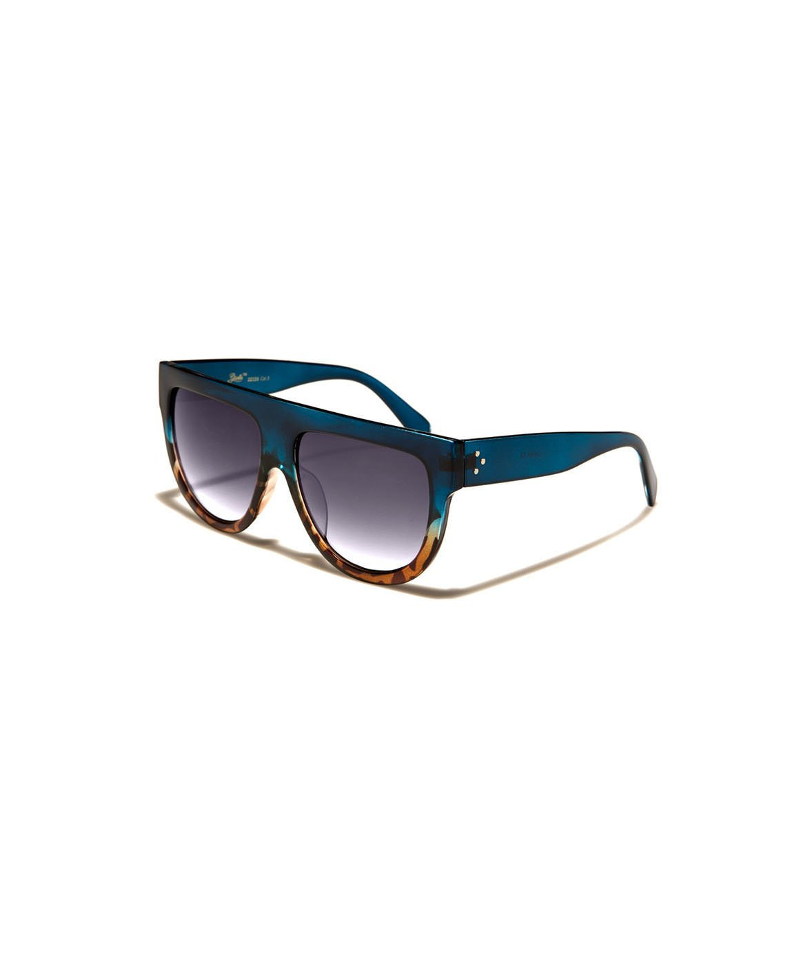 Nayked Apparel Flat-Top Oversized Sunglasses, Teal/Tortoise