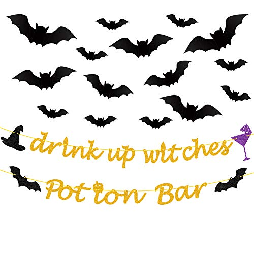 Halloween Bar Drinks (Halloween Banner Gold Glittery Drink Up Witches Banner,Potion Bar Banner,PVC 3D Decorative Scary Bats Wall Decal Wall Sticker 32 Pics Pics Halloween Eve Decor Home Window Decoration)