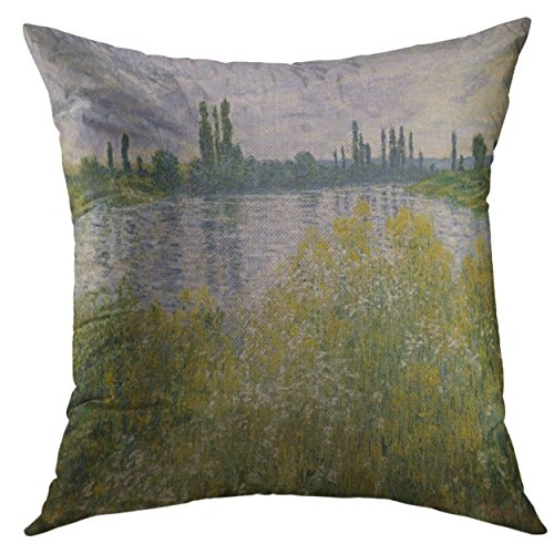 - Mugod Pillow Cover Banks of The Seine Vetheuil by Claude Monet 1880 French Impressionist Painting Oil on Canvas in This Work Home Decorative Throw Pillow Cushion Cover 16x16 Inch Pillowcase