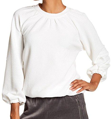 Bobeau Bubble Sleeve Women's Large Crewneck Sweatshirt White (Bubble Sleeve)